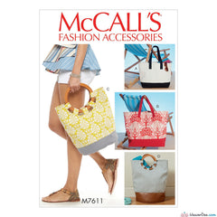 M7611 Misses' Lined Tote Bags with Handle and Contrast Options