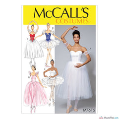 McCall's Pattern M7615 Misses' Ballet Costumes with Boned Bodice, Skirt & Sleeve Variations