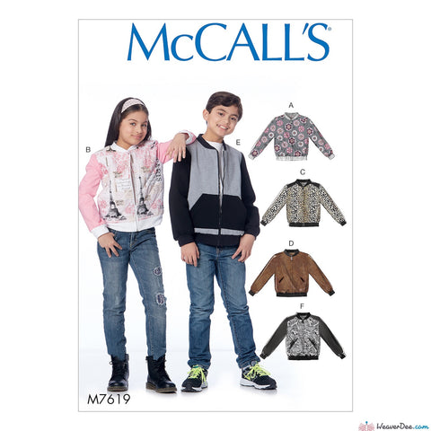 McCall's Pattern M7619 Children's/Girls'/Boys' Bomber Jackets