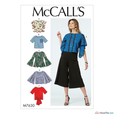 McCall's Pattern M7630 Misses' Tops with Sleeve & Hem Variations