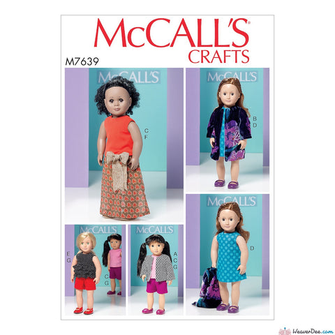 "McCall's Pattern M7639 Clothes for 18"" Dolls"