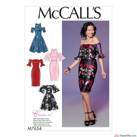 McCall's Pattern M7654 Misses'/Miss Petite Dresses with Mix-and-Match Shoulder, Sleeve, & Skirt Variations