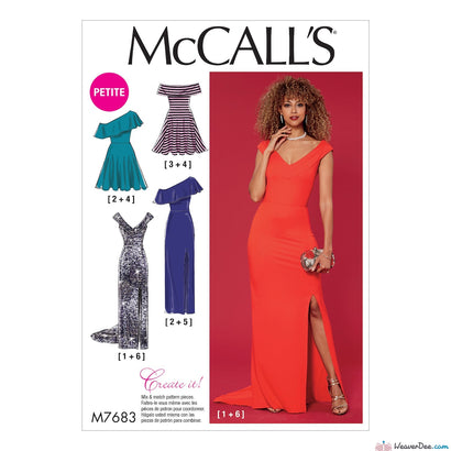 McCall's Pattern M7683 Misses'/Miss Petite Dresses with Shoulder & Skirt Variations
