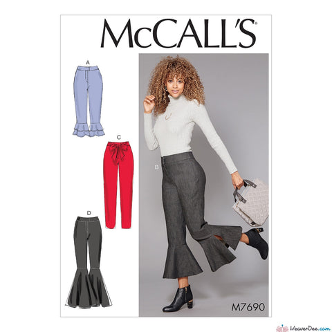McCall's Pattern M7690 Misses' Pants With Flounce Variations & Sash