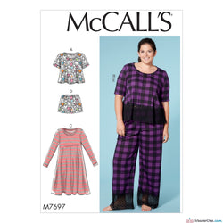 McCall's Pattern M7697 Misses'/Women's Lounge Tops, Dress, Shorts & Pants