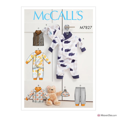 McCall's Pattern M7827 Infants Bunting, Jacket, Vest, Pants & Hat
