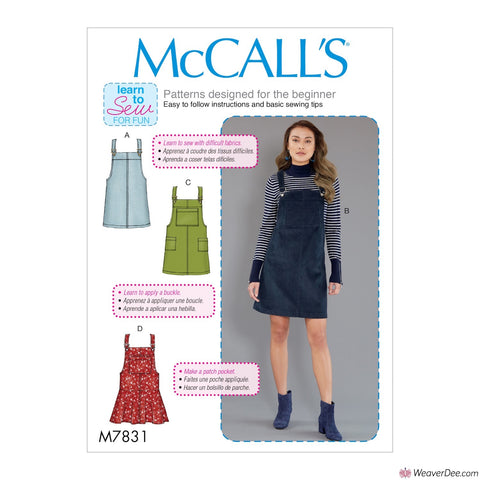 McCall's Pattern M7831 Misses' Dungaree Dress