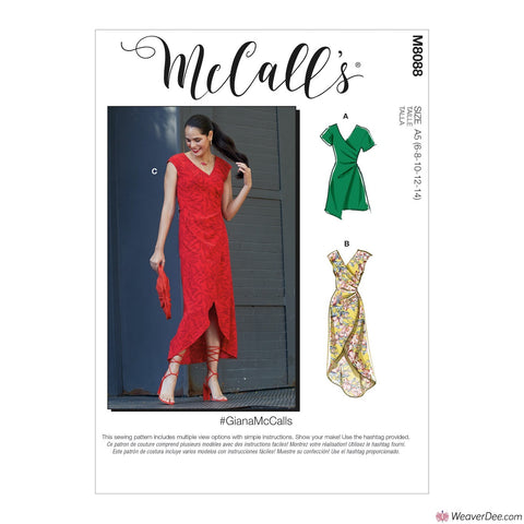 McCall's Pattern M8088 Misses' Dresses #GiannaMcCalls