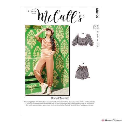 McCall's Pattern M8100 Misses' Top, Shorts & Trousers #OrnellaMcCalls