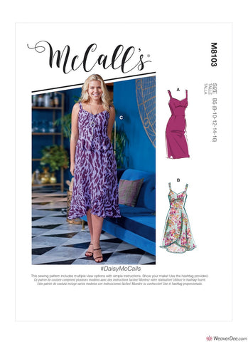 McCall's Pattern M8103 Misses' & Women's Dresses With Cup Sizes #DaisyMcCalls
