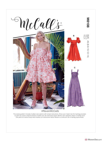 McCall's Pattern M8108 Misses' Empire Seam Gathered Dresses In Various Lengths, Necklines & Straps #RavenMcCalls