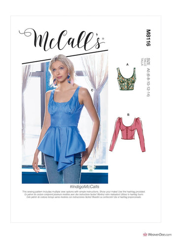 McCall's Pattern M8116 Misse's Top #IndidoMcCalls