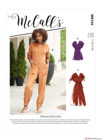 McCall's Pattern M8154 Misses' Rompers, Jumpsuits & Belt #BoweryMcCalls