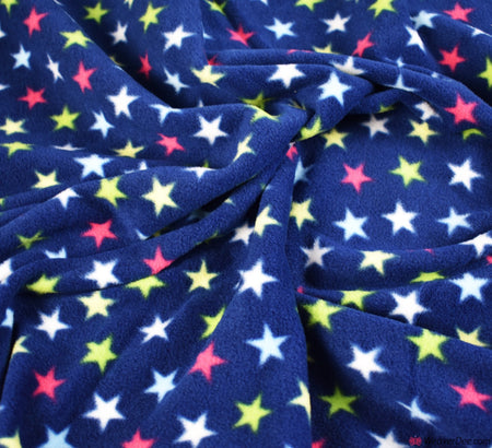 Polar Fleece Fabric - Magic Stars Navy