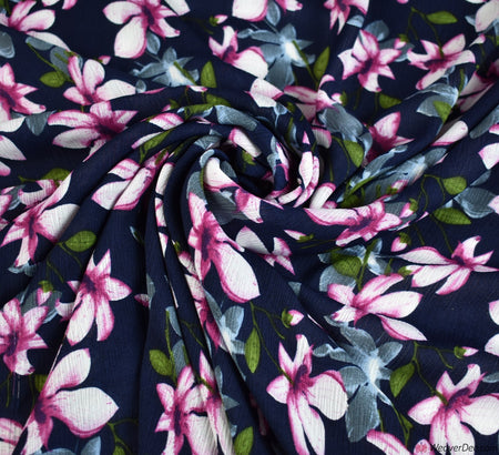 Mia Navy Crinkle Georgette Fabric