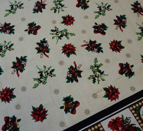 Ivory Christmas Cotton Fabric - Mistletoes & Bells (Double Border)