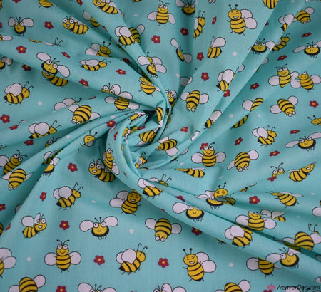 Poly Cotton Fabric - Mr Bumble / Aqua