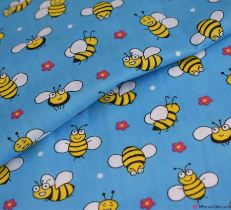 Poly Cotton Fabric - Mr Bumble / Blue