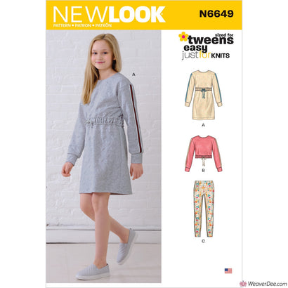 New Look Pattern N6649 Girls' Knit Dress, Top, Joggers