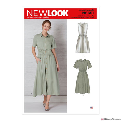 New Look Pattern N6651 Misses' Button Front Dress With Elastic Waist