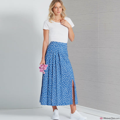 New Look Pattern N6659 Misses' Pleated Skirt With Or Without Front Slit Opening