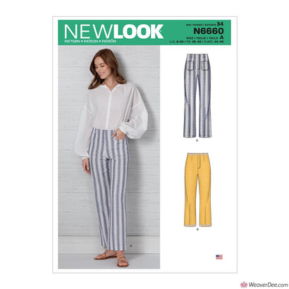 New Look Pattern N6660 Misses' High Waisted Flared Pants In 2 Lengths