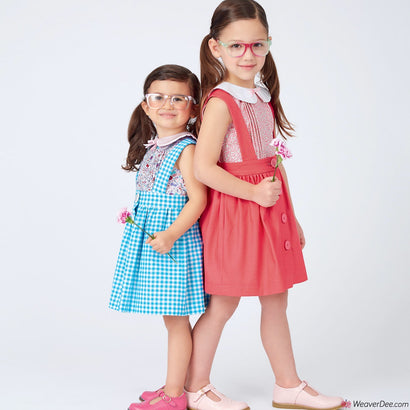 New Look Pattern N6664 Toddlers' & Children's Skirts With Shoulder Straps & Peter Pan Blouse