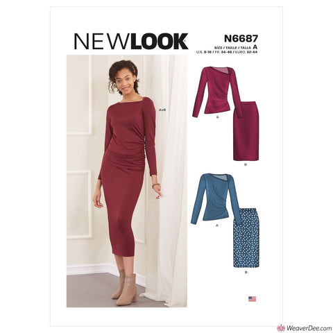 New Look Pattern N6687 Misses' Knit Skirt & Top