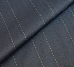 Navy Stretch Suiting Fabric - White Pinstripe (Cotton Blend)