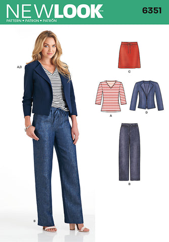 New Look - NL6351 Misses' Jacket, Pants, Skirt & Knit Top - WeaverDee.com Sewing & Crafts - 1