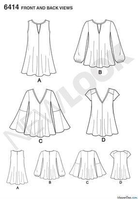 New Look - NL6414 Misses' Tunic & Top with Neckline Variations - WeaverDee.com Sewing & Crafts - 1