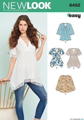 New Look - NL6452 Misses' Tops with Bodice & Hemline Variations - WeaverDee.com Sewing & Crafts - 1
