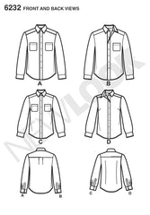New Look - NL6232 Misses' & Men's Button Down Shirt - WeaverDee.com Sewing & Crafts - 1