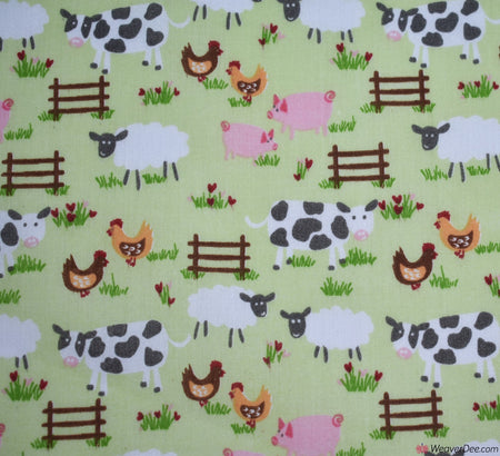 Premier Print Poly Cotton Fabric - On The Farm / Mint