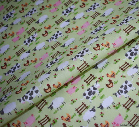 Poly Cotton Fabric - On The Farm / Mint
