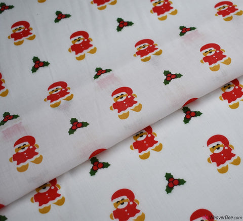 Poly Cotton Fabric - Gingerbread Santa