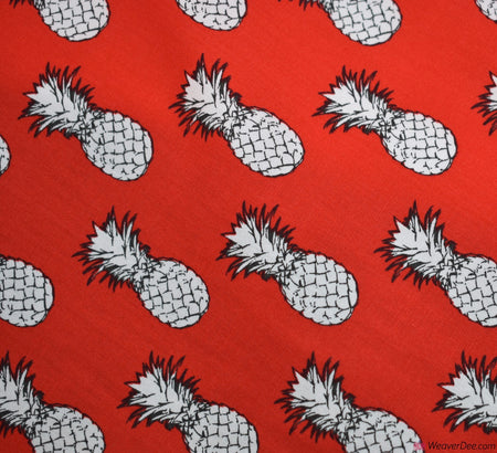 Cotton Fabric - Pineapples Red
