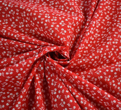 Poly Cotton Fabric - Cherries Red