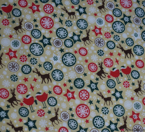 Poly Cotton Fabric - Christmas Bird & Star Beige