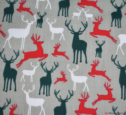 Poly Cotton Fabric - Christmas Reindeers Silver