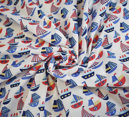 Poly Cotton Fabric - Sailing Yachts White