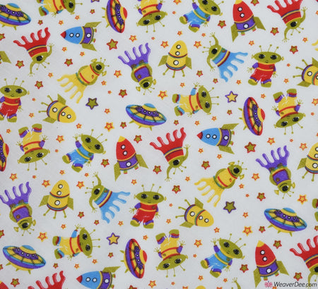 Poly Cotton Fabric - Aliens