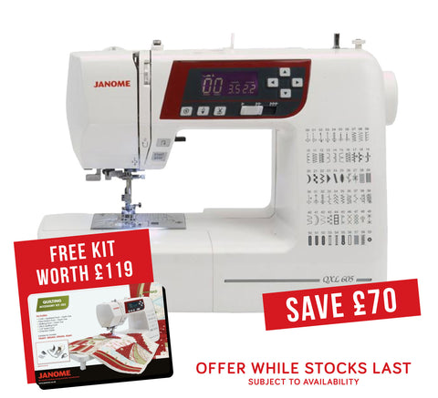 Janome QXL 605 Sewing Machine + FREE KIT WORTH £119