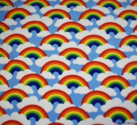 Polar Fleece Fabric - Rainbow Clouds Sky