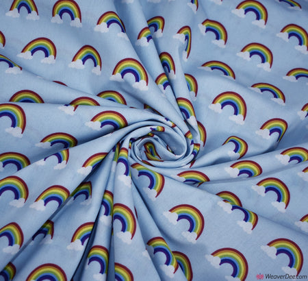 Little Johnny Digital Print Cotton Fabric - Rainbow Clouds