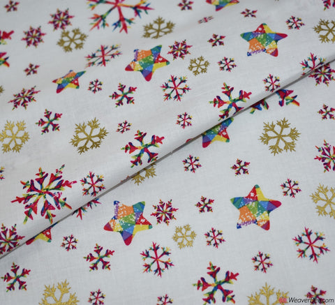 Christmas Metallic Cotton Fabric - Rainbow Snowflake Cream