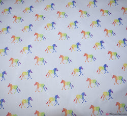 Premier Print Poly Cotton Fabric - Zebra Rainbow
