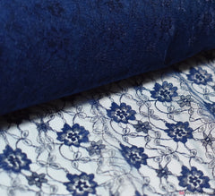 Raschel Navy Blue Lace Fabric
