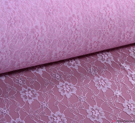 Raschel Pink Lace Fabric