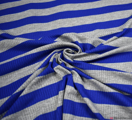 Ribbed Stripe Jersey Fabric - Royal Blue / Grey